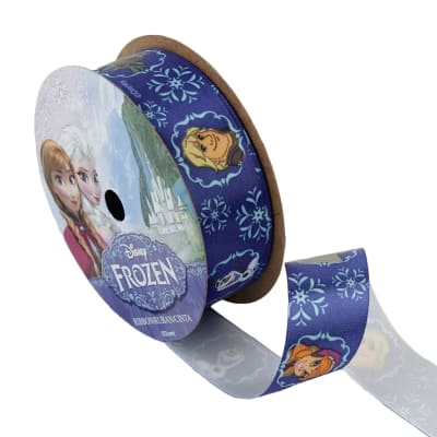 "7/8"" Frozen Ribbon Royal Characters Dark Blue 3YD Spool"