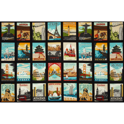 Dream Vacation Postcard Blocks Panel Vintage