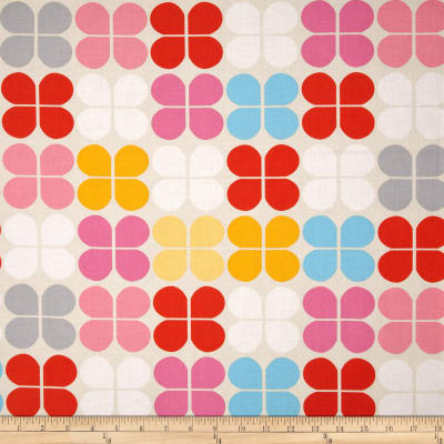 Kaufman Geo Pop Home Decor Canvas Flower Squares Sorbet