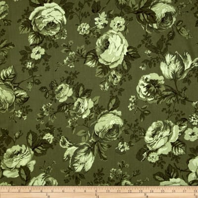 Michele's Rose 108 In. Wide Quilt Back Green