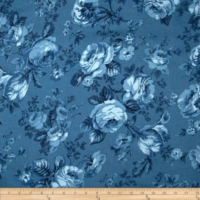 Michele's Rose 108 In. Wide Quilt Back Blue
