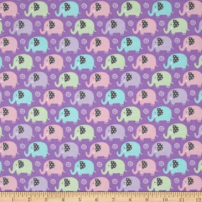 Michael Miller Baby Flannel Zoo Littles -It's a Girl Thing- Lila