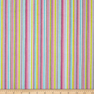 Michael Miller Baby Flannel Zoo Littles -It's a Girl Thing Stripe Raindow