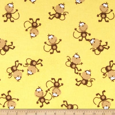Comfy Flannel Tossed Monkeys Yellow