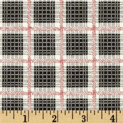 Cock-A-Doodle-Doo Plaid Black/Red/Cream