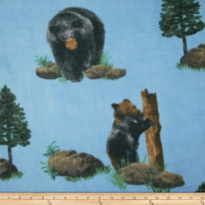Fleece Print Black Bear Blue