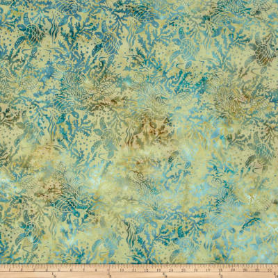 Island Batik Down in the Boondocks Tan/Teal Turtle
