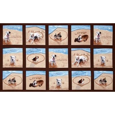 Sand Scribbles Patchwork 24 In Panel Dogs Brown