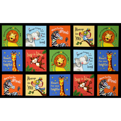 "Think Positive Animal Blocks 24"" Panel Black"