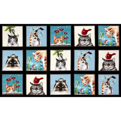 Curious Cats 24 In. Panel Squares Black