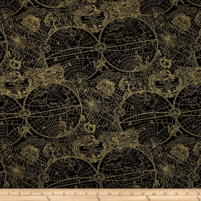Gold Standard Metallic New World Map Black/Gold