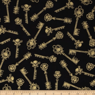 Gothic Glam Metallic Skeleton Key Black/Gold