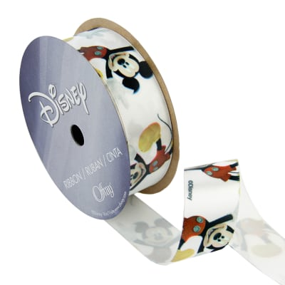 "7/8"" Mickey Mouse Ribbon Close Cartoon White"