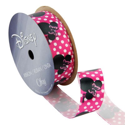 "7/8"" Minnie Mouse Ribbon Dot Silouhette Pink"
