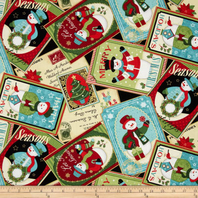 Happy Holidays Metallic Snowman Collage Multi