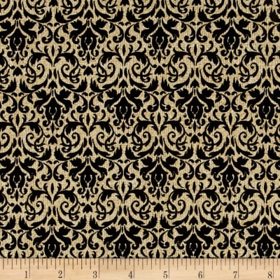 Homespun Holiday Metallic Damask Black