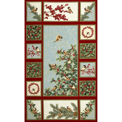 Chickadees and Berries Metallic Chickadees and Berries 24 In. Panel Multi
