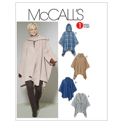McCall's Misses' Ponchos and Belt Pattern M6209 Size 0Y0