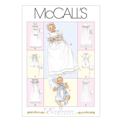 McCall's Infants' Christening Gown, Rompers With Snap Crotch and Bons Pattern M6221 Size OSZ