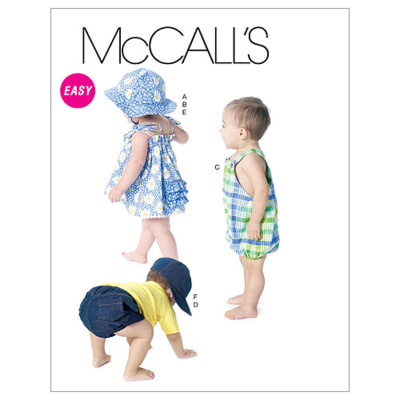 McCall's Infants' Dress, Panties, Romper, Diaper Cover and Hats Pattern M6309 Size OSZ