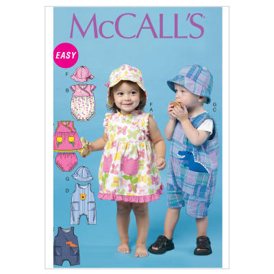 McCall's Infants' Dress, Rompers, Jumpsuit, Panties and Hats Pattern M6494 Size OSZ