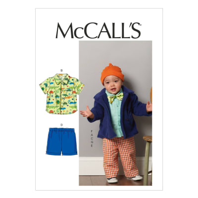 McCall's Infants' Jacket, Shirts, Shorts, Pants, Hat and Bow Tie Pattern M6779 Size YA5