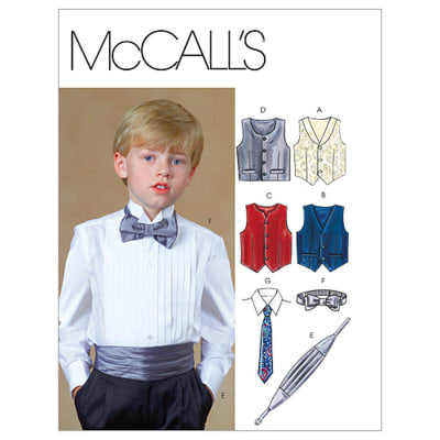 McCall's Children's/Boys' Lined Vests, Cummerbund, Bow Tie and Necktie M4290 Size CCE