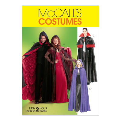 McCall's M4139 Misses'/Men's/Teen Boys' Lined & Unlined Cape Costumes Pattern OSZ (One Size)