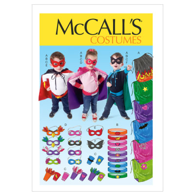 McCall's Children/Boys'/Girls' Cape, Belt, Cuffs and Masks Pattern M6626 Size KID