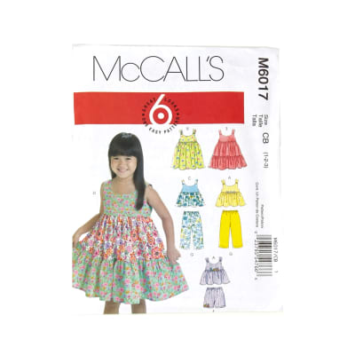 McCall's Toddlers'/Children's Tops, Dresses, Shorts And Pants Pattern M6017 Size CB0