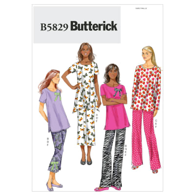 Butterick Misses' Top, Pants, Slippers and Bow Pattern B5829 Size 0Y0