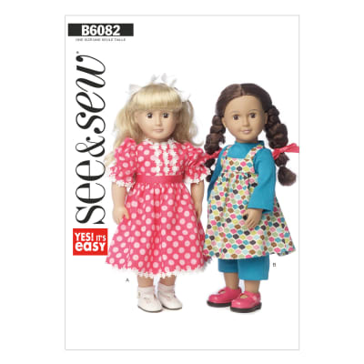 """Butterick Clothes For 18"""" Doll Pattern B6082 Size 0A0"""