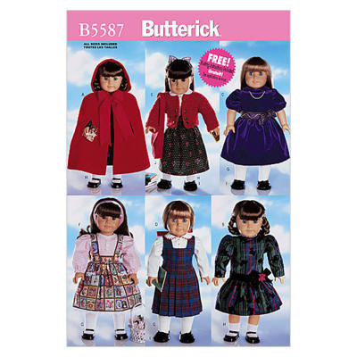 "Butterick 18"" (46cm) Doll Clothes Pattern B5587 Size OSZ"