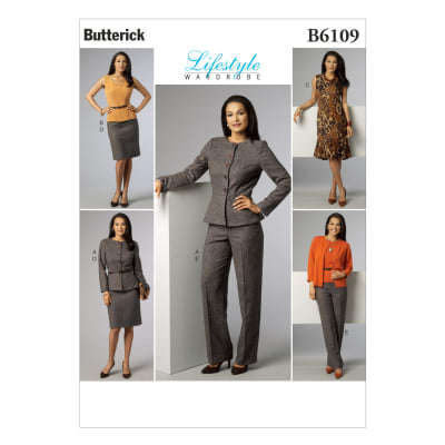 Butterick Misses' Jacket, Top, Dress, Skirt and Pants Pattern B6109 Size A50