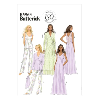 Butterick Misses' Robe, Top, Gown, Pants and Bag Pattern B5963 Size A50