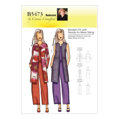Butterick B5473 Misses'/Women's Jacket, Vest and Pants Pattern Size MIS