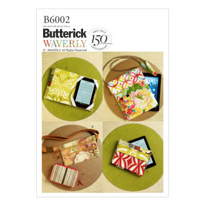 Butterick B6002 Zipper Case, Belly Bag and Electronic Device Cases Pattern OSZ (One Size)