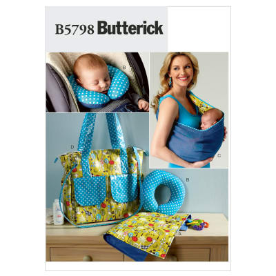 Butterick Baby's Changing Pad, Neck Support, Carrier and Diaper Bag Pattern B5798 Size OSZ