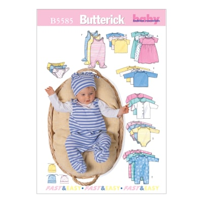 Butterick Infants' Jacket, Dress, Top, Romper, Diaper Cover and Hat Pattern B5585 Size MED