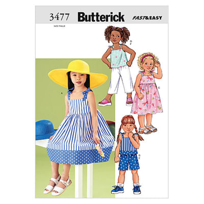 Butterick Children's Dress, Top, Short & Pants Pattern B3477 Size 020