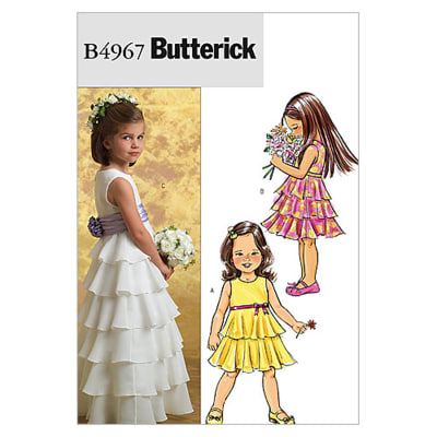 Butterick Children's/Girls' Dress and Cummerbund Pattern B4967 Size CDD