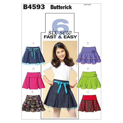 Butterick Girls' Skirt Pattern B4593 Size CH0