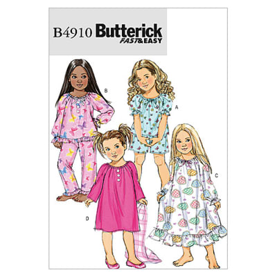 Butterick Children's/Girls' Top, Shorts, Pants and Gown Pattern B4910 Size CDD