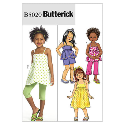 Butterick Children's/Girls' Top, Dress, Shorts, Pants And Leggings Pattern B5020 Size CDD