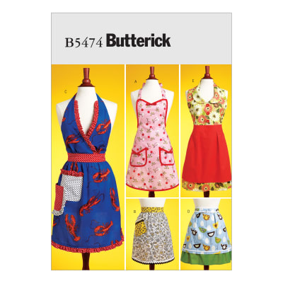 Vintage Aprons, Retro Aprons, Old Fashioned Aprons & Patterns Butterick B5474 Aprons Pattern Size XY0 $14.98 AT vintagedancer.com