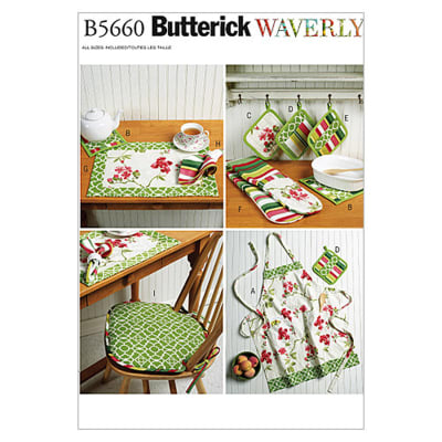 Butterick Apron, Hot Pads, Pot Holders, Place Mat, Napkin and Seat Cushion Pattern B5660 Size OSZ