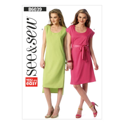 Butterick Misses' Dress and Belt Pattern B6039 Size 0A0