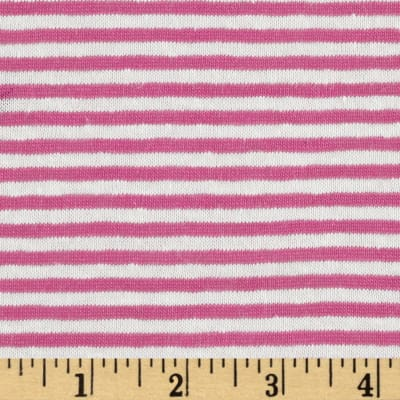 Designer Tissue Yarn Dyed Jersey Knit Stripes Hot Pink/Off White