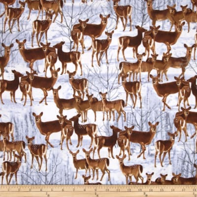 Kanvas The Great North Wilderness Flannel Whitetail Does Silver Grey
