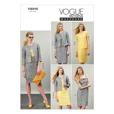 Vogue Misses' Jacket, Top, Dress and Skirt Pattern V8916 Size A50